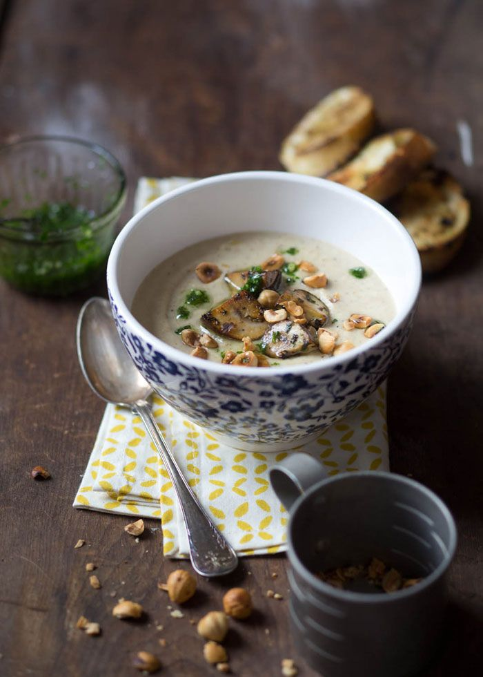 Parsnip and Hazelnut Soup with Mushrooms