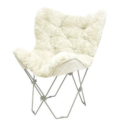 Mongolian Fur Butterfly Chair in White