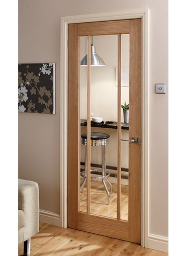 Oak door with white trim