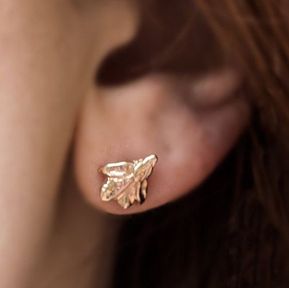Rose Gold Grecian Leaf Stud Earrings  Real Leaf by AnuevaJewelry