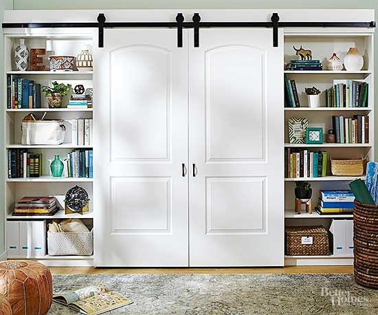 Entertainment Centers Even You Can Diy Barn Door Cabinet Bookshelves Built In Built Ins