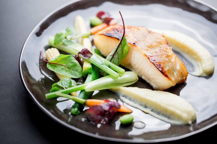 Chilean sea bass caramelized with miso, glazed vegetables, parsnip ...