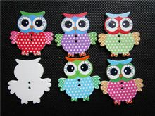 1000pcs 33x35mm Cute Owl Wood Buttons 2 Holes Cartoon Owls Sewing Button Embellishments For Baby Crafts Scrapbooking(China (Mainland))