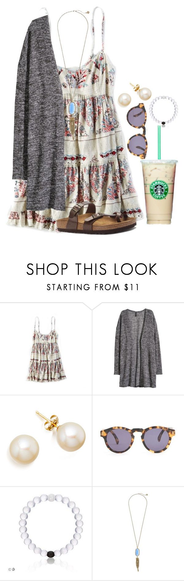 """I almost have this whole outfit, minus the necklace"" by flroasburn ❤ liked on Polyvore featuring American Eagle Outfitters, H&M, Illesteva, Kendra Scott and Birkenstock"