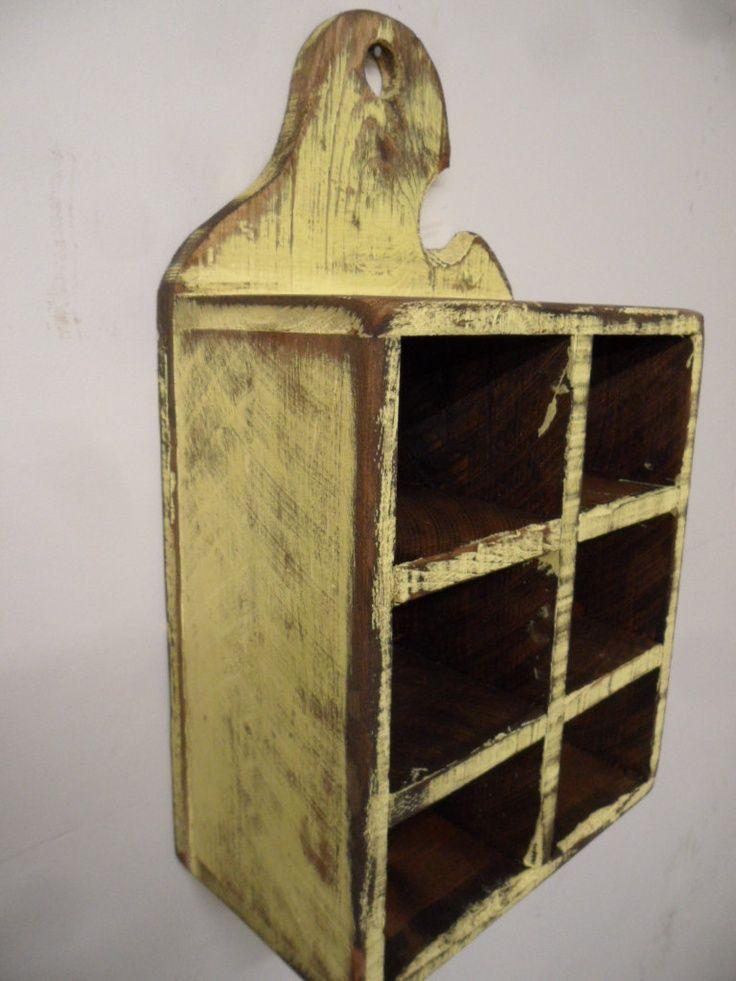 Primitive spice rack, Jelly cupboard, Primitive wall shelf, French country spice rack, Shabby chic wall shelf, Bathroom shelf, Cubby shelf