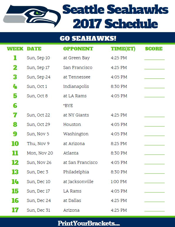 2017 Seattle Seahawks Football Schedule
