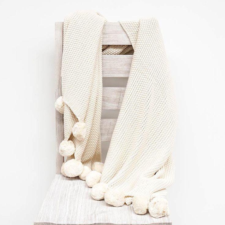 Natural PomPom Cotton Throw