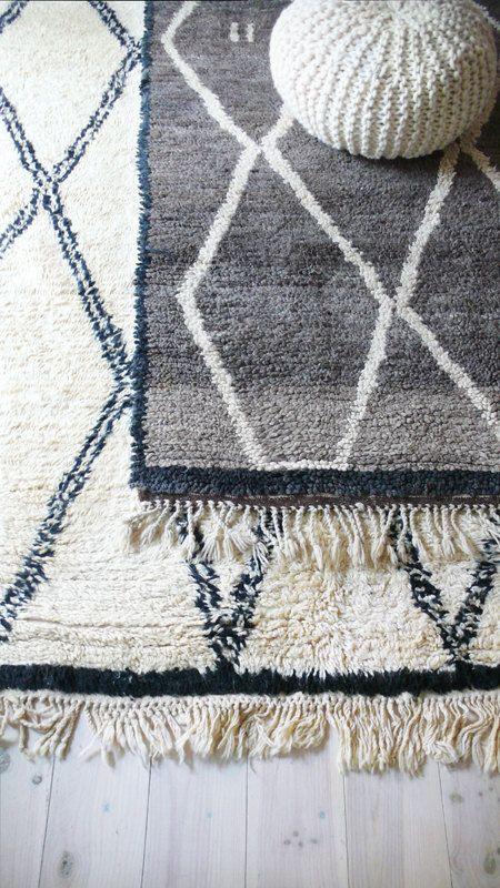 BENI OUARAIN Grey Vintage Moroccan Wool Rug by lacasadecoto