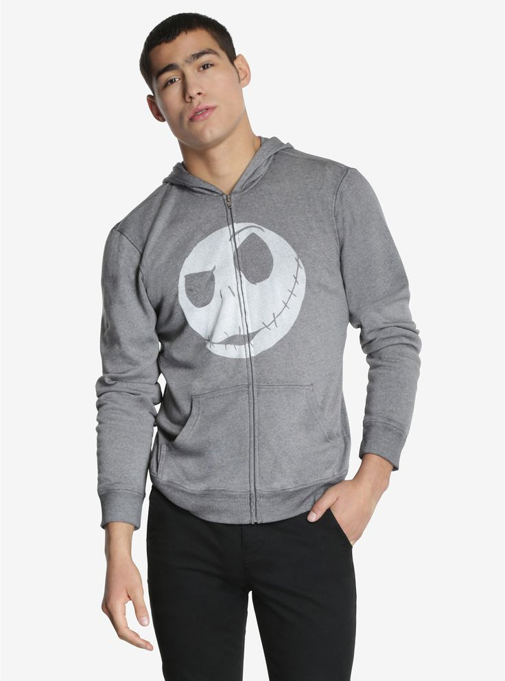 """Don't get caught off guard by the snow like Jack Skellington when he first ventured into Christmas Town. This super soft grey zip-up hoodie has a simple Jack Skellington design and will offer some protection against the winter winds!<div><ul><li style=""""list-style-position: inside !important; list-style-type: disc !important;"""">51% cotton; 49% polyester</li><li style=""""list-style-position: inside !important; list-style-type:..."""