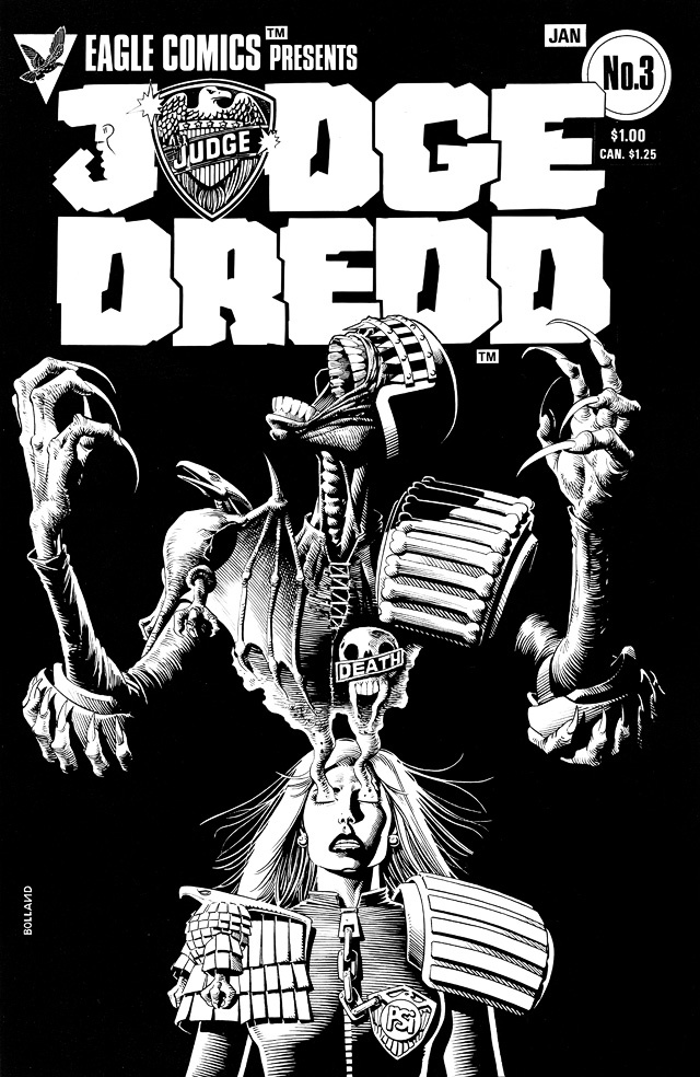 Brian Bolland - a cracking Anderson/Death cover to issue 3 Eagle's US reprints of Dredd. The covers being the only reason for their existence.