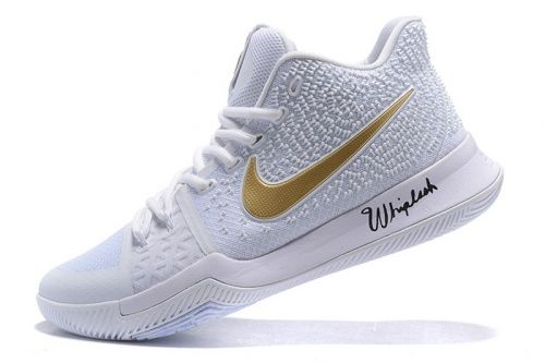 96ac20e0d084 Factory Authentic Nike Kyrie 3 White Metallic Gold Christmas Day Mens  Basketball Shoes For Sale - ishoesdesign
