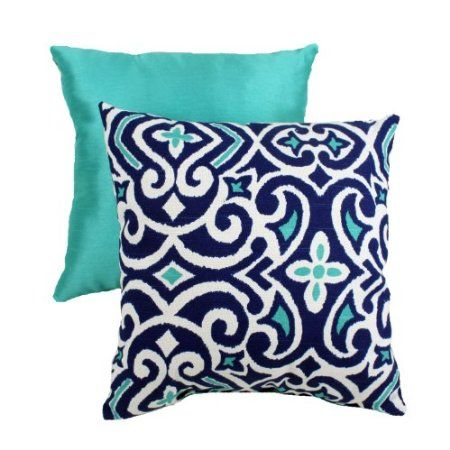 Been searching everywhere for aqua, navy and white pillows for bedroom