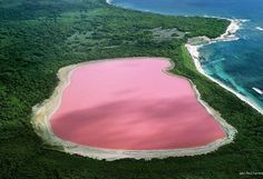 Hillier Lake, Western Australia: The pink and lovely Hiller Lake is the only vividly pink lake you will find in the world. The color is permanent and never changes, even when water is removed and placed in a  separate container. Its startling color remains a mystery and while scientists have proven it's not due to the presence of algae, unlike the other salt lakes down under, they still can't explain why it's pink.... Thats a lot of pepto bismol...