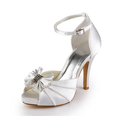 Satin Stiletto Peep Toe Wedding Shoes With Bow (More Colors) [50% Off World - Wide]       $71.19