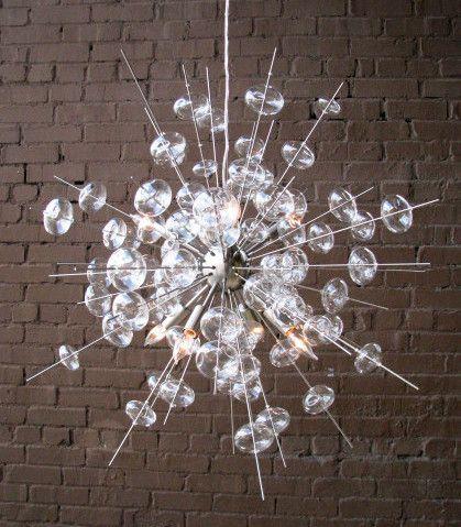 Glass Chandelier Modern: Bubbles Modern Nickel & Glass Chandelier,Lighting