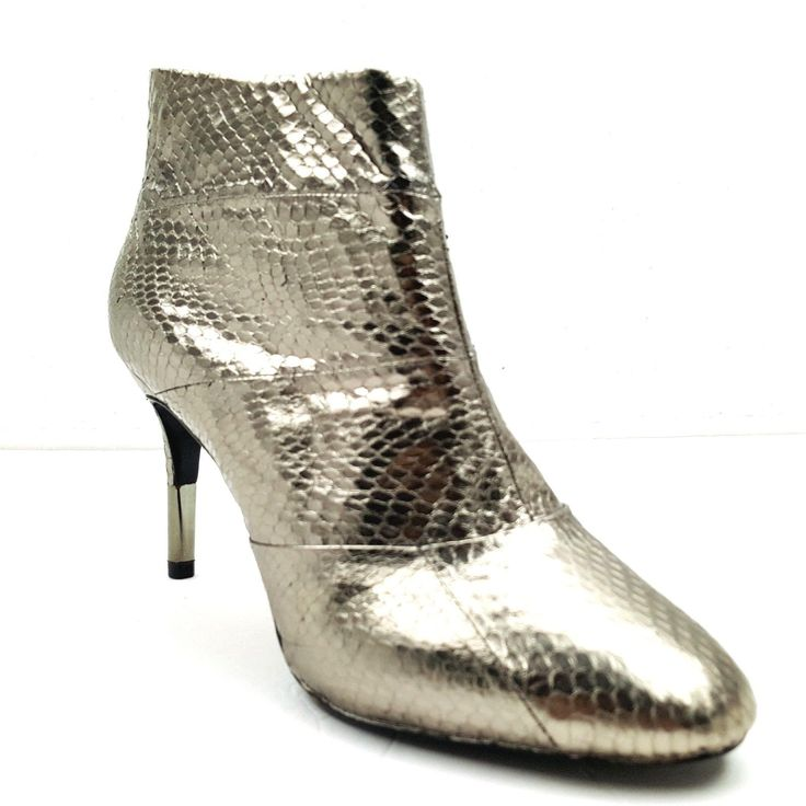 Pour La Victoire Women's Silver Leather Ankle Boots Heels Booties US Size 9.5 | eBay