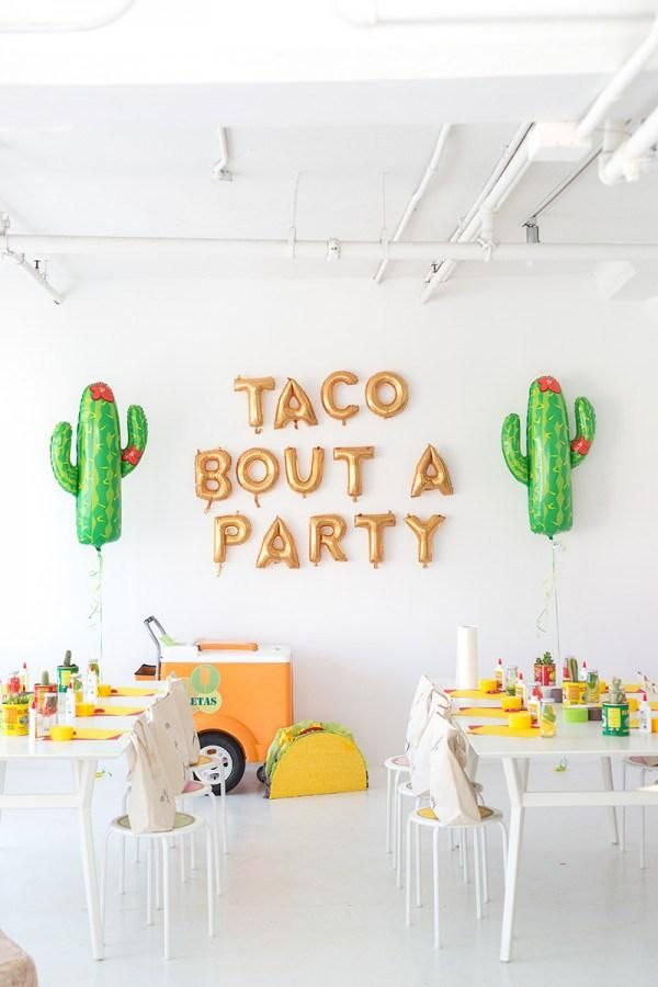 101 Theme Party Ideas - Cinco de Mayo: Have all-you-can-drink margaritas, a make your own taco bar, and end with a tequila tasting. We love these cacti and gold metallic ballon letters! | StyleCaster.com