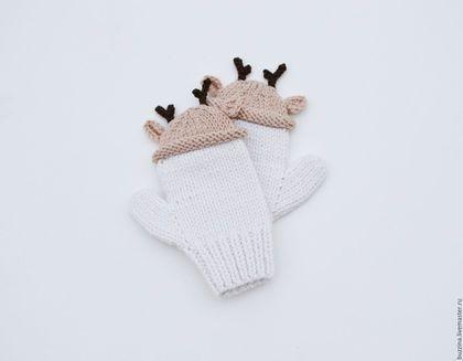 Варежки, митенки, перчатки ручной работы. Ярмарка Мастеров - ручная работа. Купить Детские варежки в шапочках Олени, детские варежки для ребенка. Handmade.