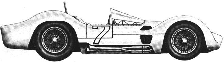 Maserati Birdcage Blueprints   CAR blueprints - 1960 Maserati T61 Birdcage OW blueprint