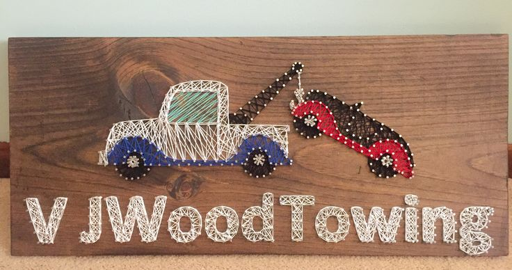 Tow truck towing car string art