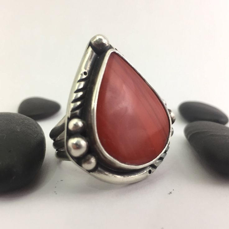 Red Ring, Size 9 1/2 Ring, Sterling Silver Ring, Statement Ring, Artisan Quality, Rustic Ring, Heirloom Quality, Earthy Ring, Best Dressed by PacificCrestSilver on Etsy https://www.etsy.com/listing/566036755/red-ring-size-9-12-ring-sterling-silver