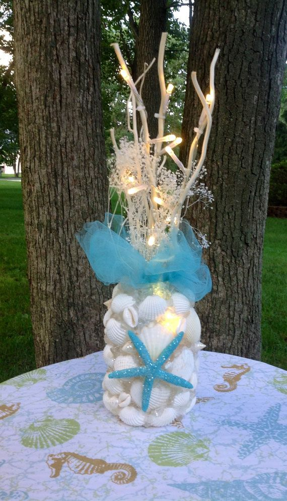 Sea Shell Decor Flameless Lighting with Teal Star by BeachBasket, $40.00