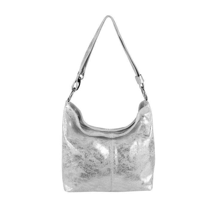 Made in Italy echt Leder Metallic Damen Tasche Shopper Hobo-Bags Schultertasche Umhängetasche Handtasche Ledertasche Silber