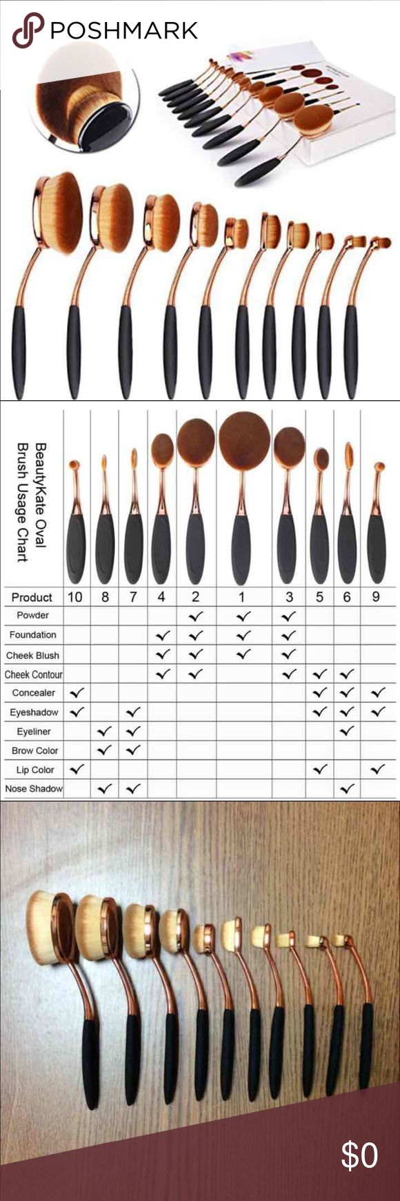 10 pc Rose Gold Oval Makeup Brushes Circle 1: Lip/Eye Shadow/Brow Circle 2: Lip/Eye Shadow Linear 3: Eye Shadow/Brow/Eye Liner Linear 4: Eye Shadow/Brow/Eye Liner Linear 5: Eye Shadow/Eye Liner/Cheek/Blush/Contour/Concealer Oval 6: Lip Colour/Eye Shadow/Concealer Oval 7: Cheek Contour/Foundation/Setting Powder/Eye shadow/Concealer Oval 8: Cheek Blush & Contour/Foundation/Setting Powder/Eye shadow/Concealer Oval 9: Cheek Blush/Contour/Foundation/Bronzing/Setting Powder Oval 10…