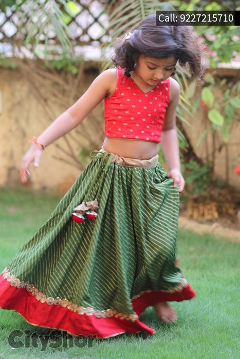Green And red Striped Cotton Lehenga Choli #KidsCollection  #GirlsLehenga
