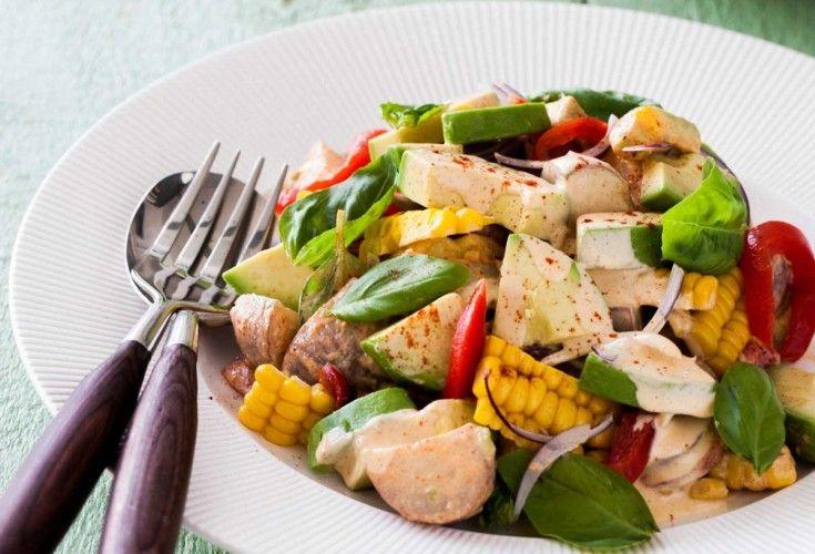 Smoky Corn and Avocado Potato Salad