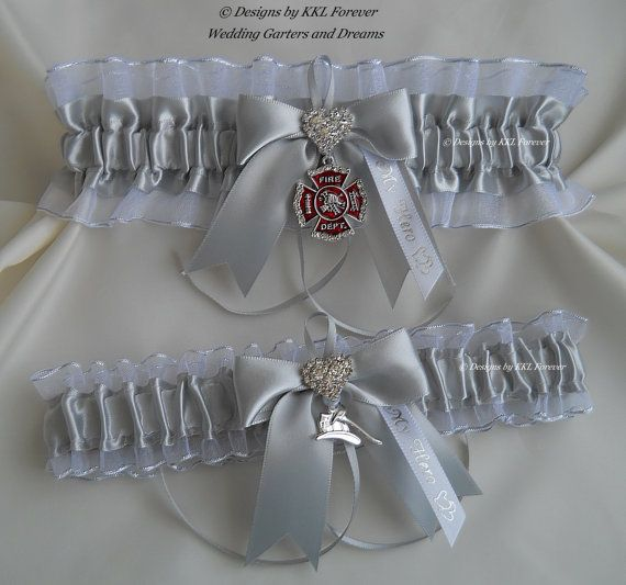 Firefighter Wedding Garter Set Crystal by ElegantGarterShop, $43.00