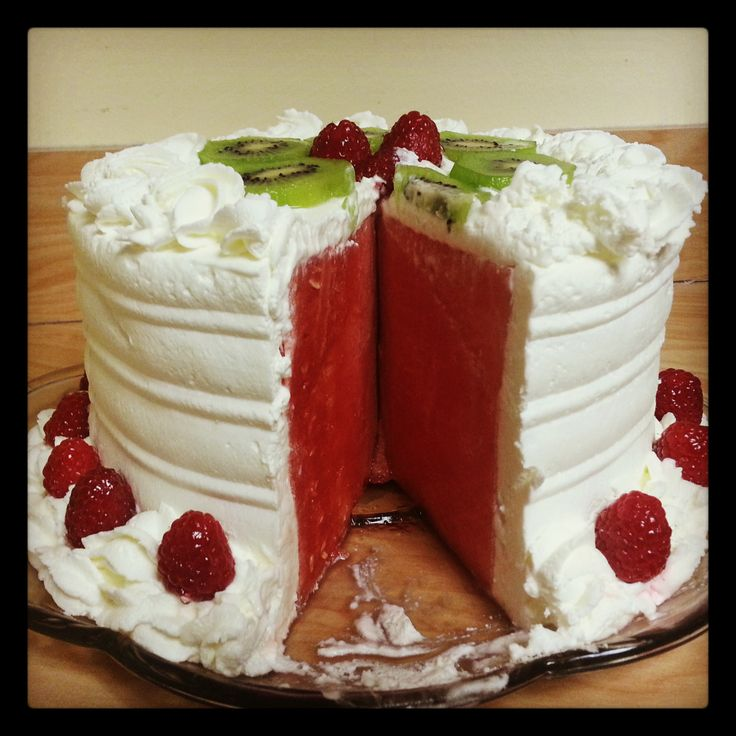 Fresh Water Mellon Cake w/ Whipped Cream Frosting