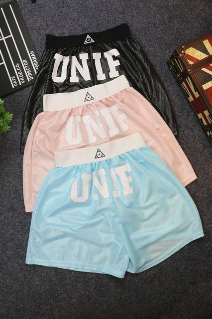 FSJ Unif Letters Logo Printed Gym Sport Shorts Women's Harajuku Summer Mesh Shiny Casual Active Pantalones Cortos