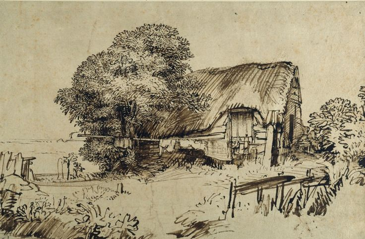 Rembrandt, A Thatched Cottage by a Tree