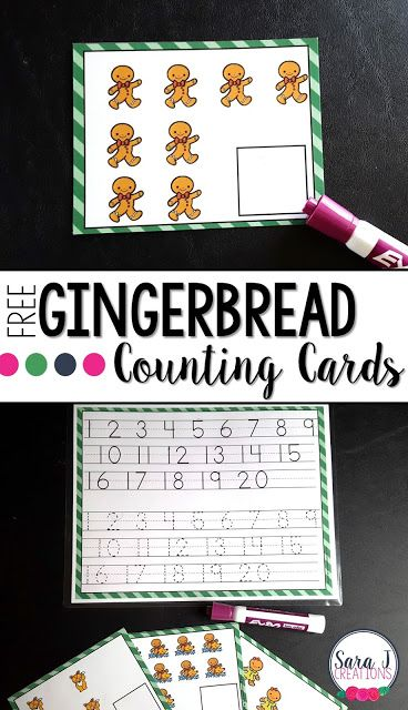 Gingerbread Counting Cards   These free gingerbread write and wipe counting cards are perfect for practicing numbers 1-20. Just print and laminate and then use with a dry or wet erase marker. I've also included a number chart with tracing lines for little ones that still need practice and a reference sheet.   Grab your FREE gingerbread counting cards now.   centers Christmas Counting counting activities December free math centers Gingerbread Man PreK-2 preschool Sara J Sara J Creations