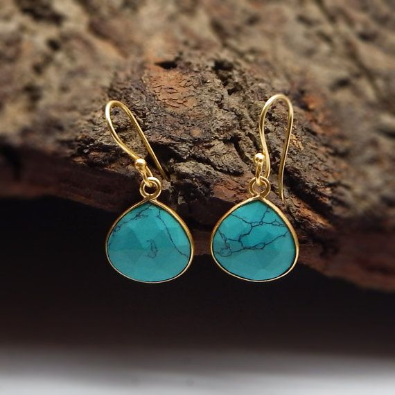 Natural Turquoise Small Dangling Earrings  22k by darlingpiece