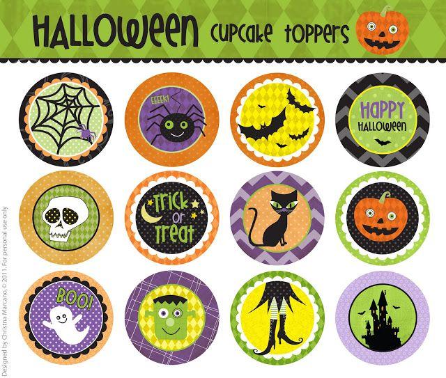 Free Printable Cupcake Topper Templates | Halloween Cupcake Toppers (F R E E printable)