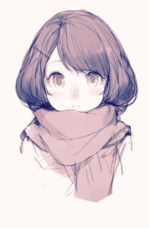 Anime girl edit with scarf and flower crown.   We Heart It   anime ...