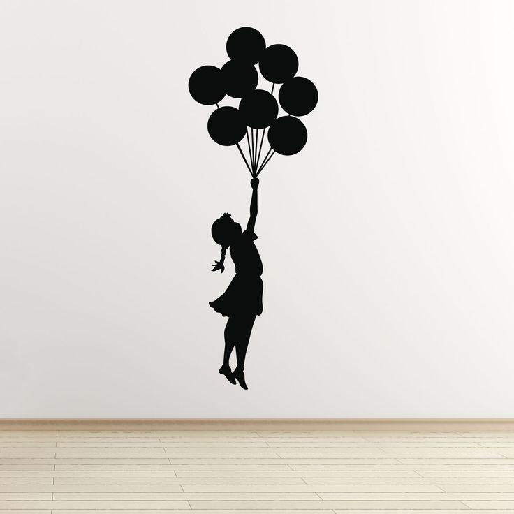 Banksy Flying Balloon Girl Wall Decal Black Jpg 1600 215 1600