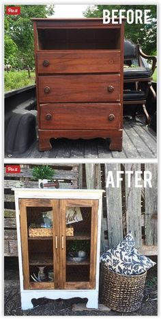 Little Dresser To Cute Cabinet ... gutting the whole thing since she was missing a drawer anyway & added shelving & then open frame doors to complete the look