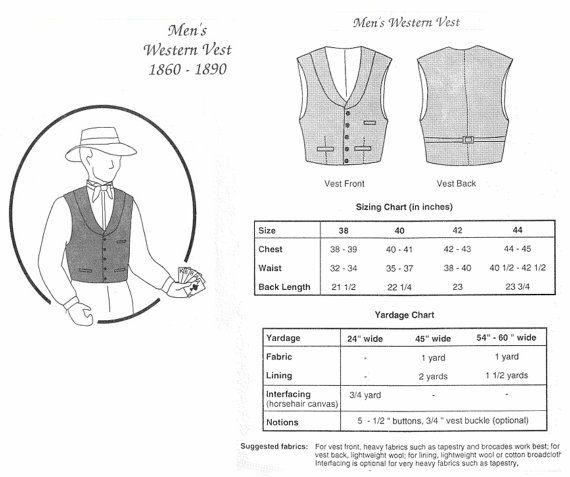 TG229W 1860-1890 Men's Western Vest Sewing Pattern by