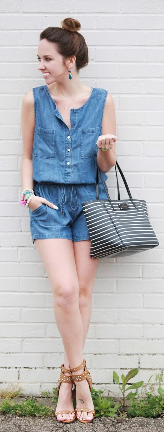 Denim Romper plus brown sandal! Perfect match for summer