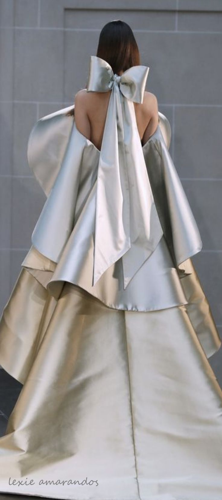 Alexis Mabille oyster or champagne silk Cape dress.  Haute couture