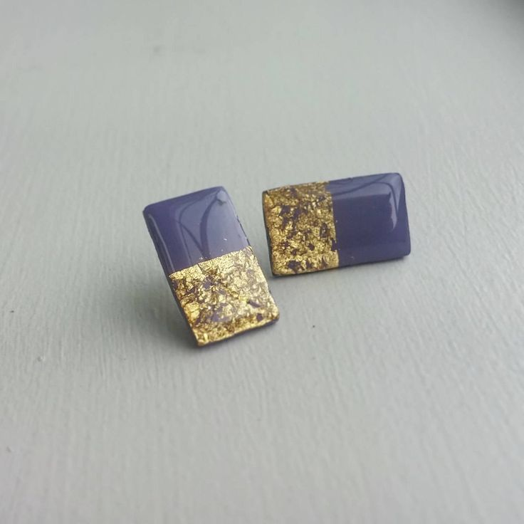 Rectangular Polymer Clay Stud Earrings Resin Post Earrings by Leilahcreations on Etsy