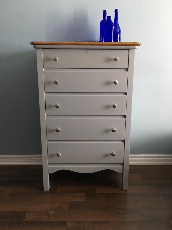 5-drawer dresser finished in Little Lamb Fusion Mineral Paint natural top and new hardware.