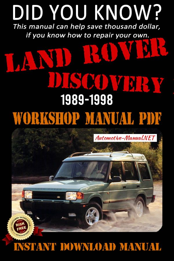 Download Land Rover Discovery 1 1989-1998 Workshop Manual PDF | Land rover  discovery, Land rover discovery 1, Land rover