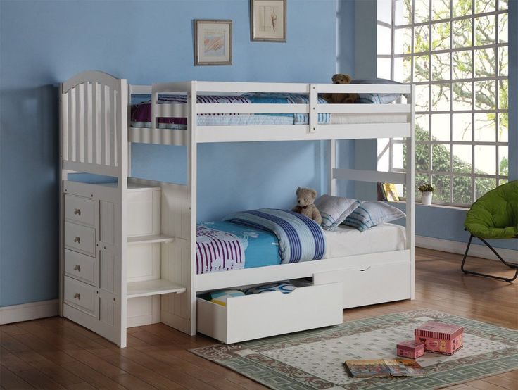 Our Twin Over Twin White Loft Bed With Stairs Is Solidly Constructed And  Stylishly Designed With