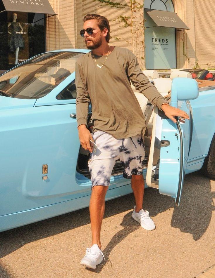Scott Disick Hops Out Blue Rolls-Royce Wearing Carrera Sunglasses, John Elliott…