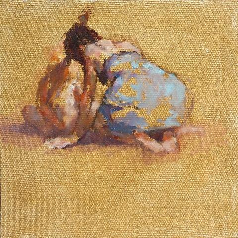 Moeder en kind aan zee 50 x 50 cm