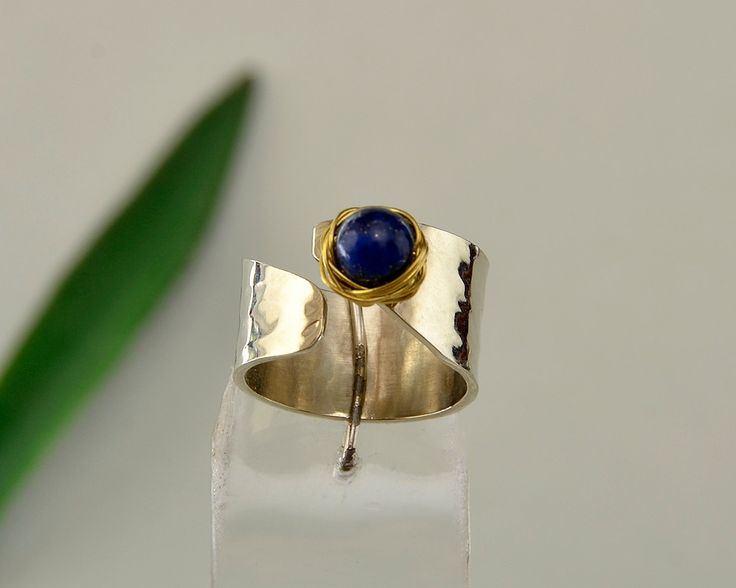 Lapis lazuli ring, pinky ring, little finger ring, alpaca woman ring, hammered band,silver tone ring,navy stone ring,Christmas gift under 25 by ColorLatinoJewelry on Etsy